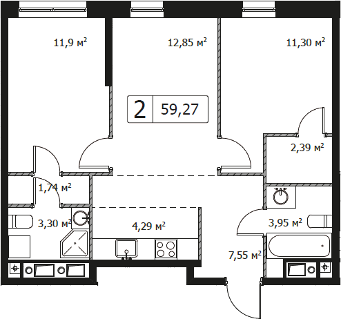 3Е-комнатная, 59.27 м²– 2