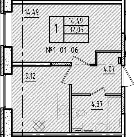 1-к.кв, 32.05 м²