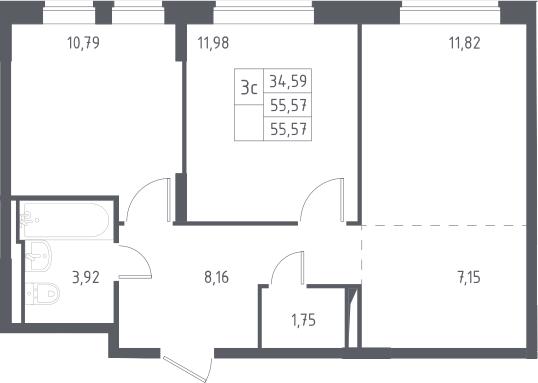 3Е-к.кв, 55.57 м²