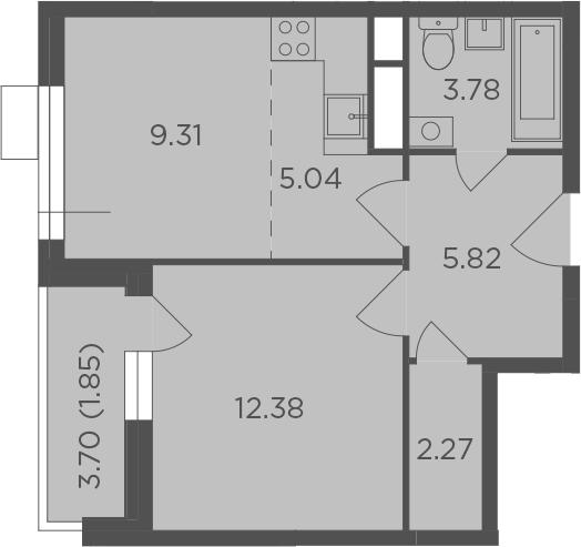 2Е-к.кв, 40.45 м², от 10 этажа