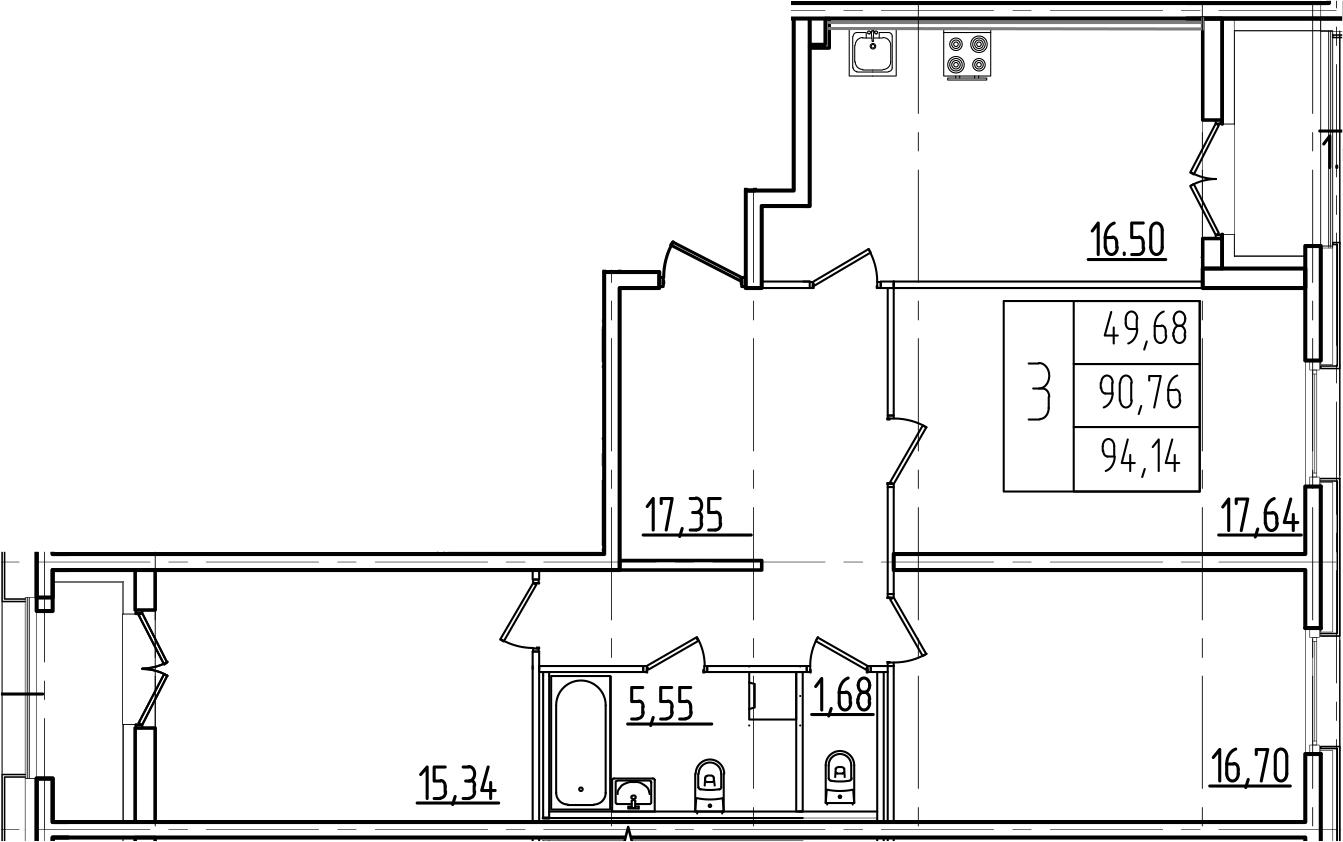 4-к.кв (евро), 97.52 м²