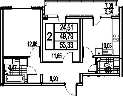 2-к.кв, 56.87 м²