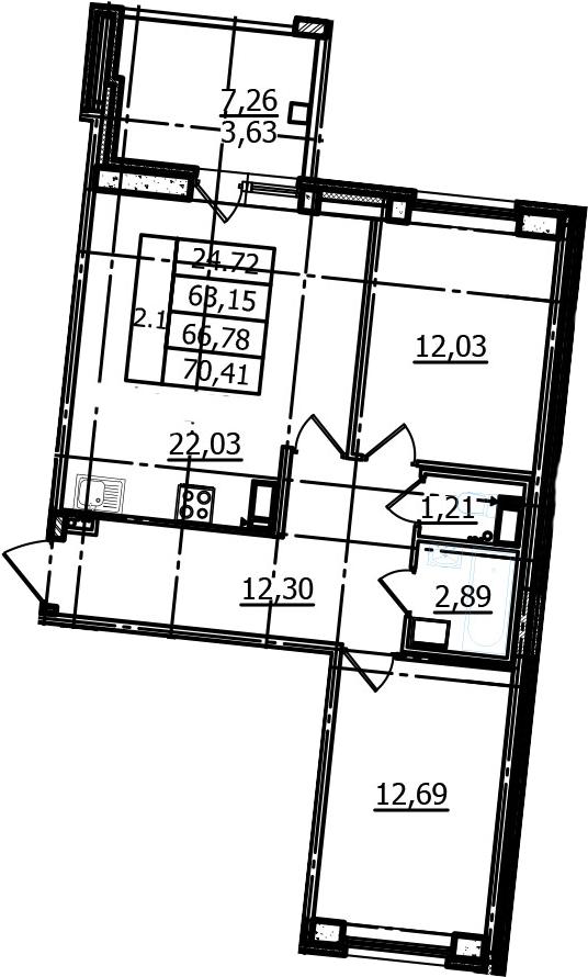 3Е-к.кв, 63.15 м², 3 этаж