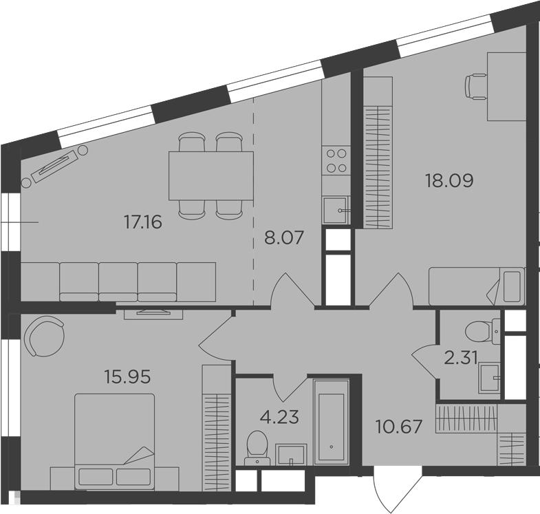 3Е-комнатная, 76.48 м²– 2