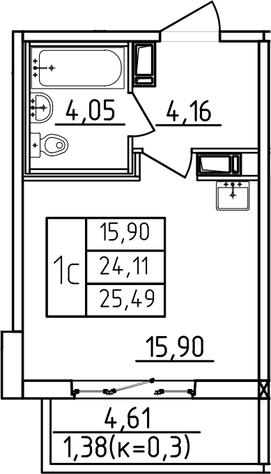 Студия, 28.71 м²