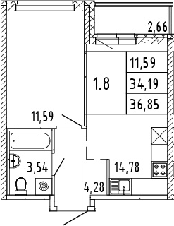 2Е-комнатная квартира, 35.52 м², 4 этаж – Планировка