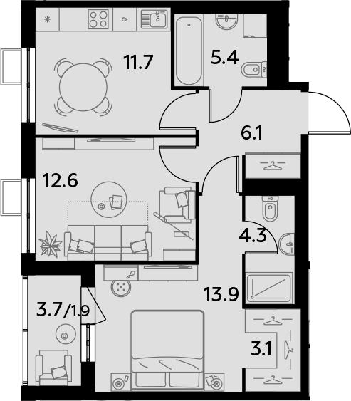 2-к.кв, 59 м²