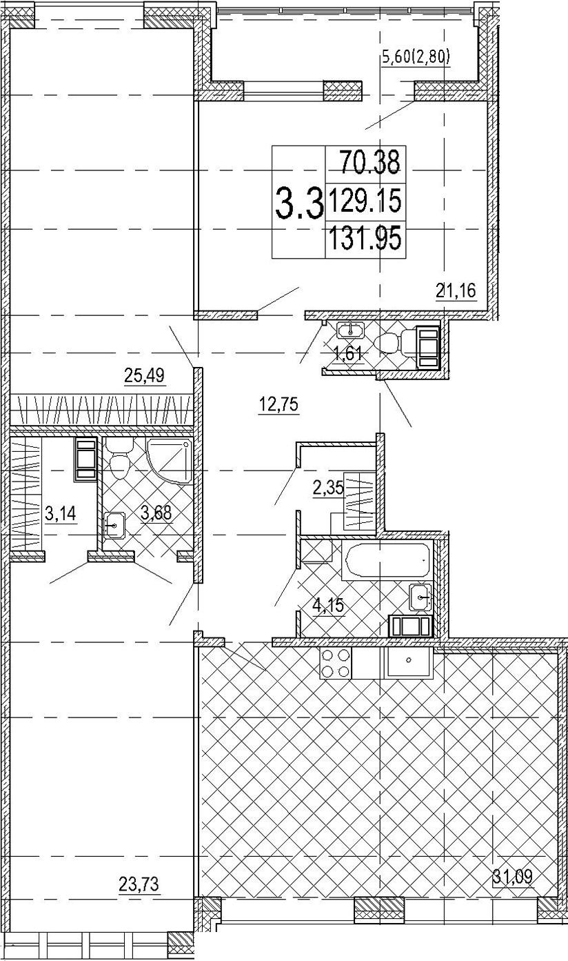 4Е-комнатная квартира, 131.95 м², 7 этаж – Планировка