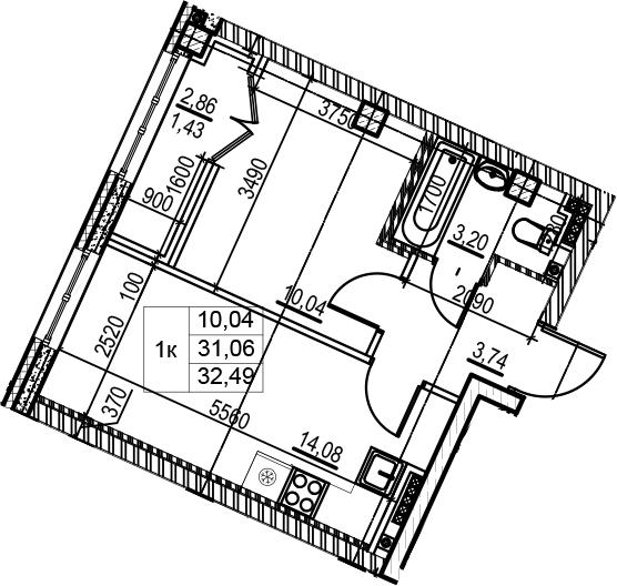 2-к.кв (евро), 33.92 м²