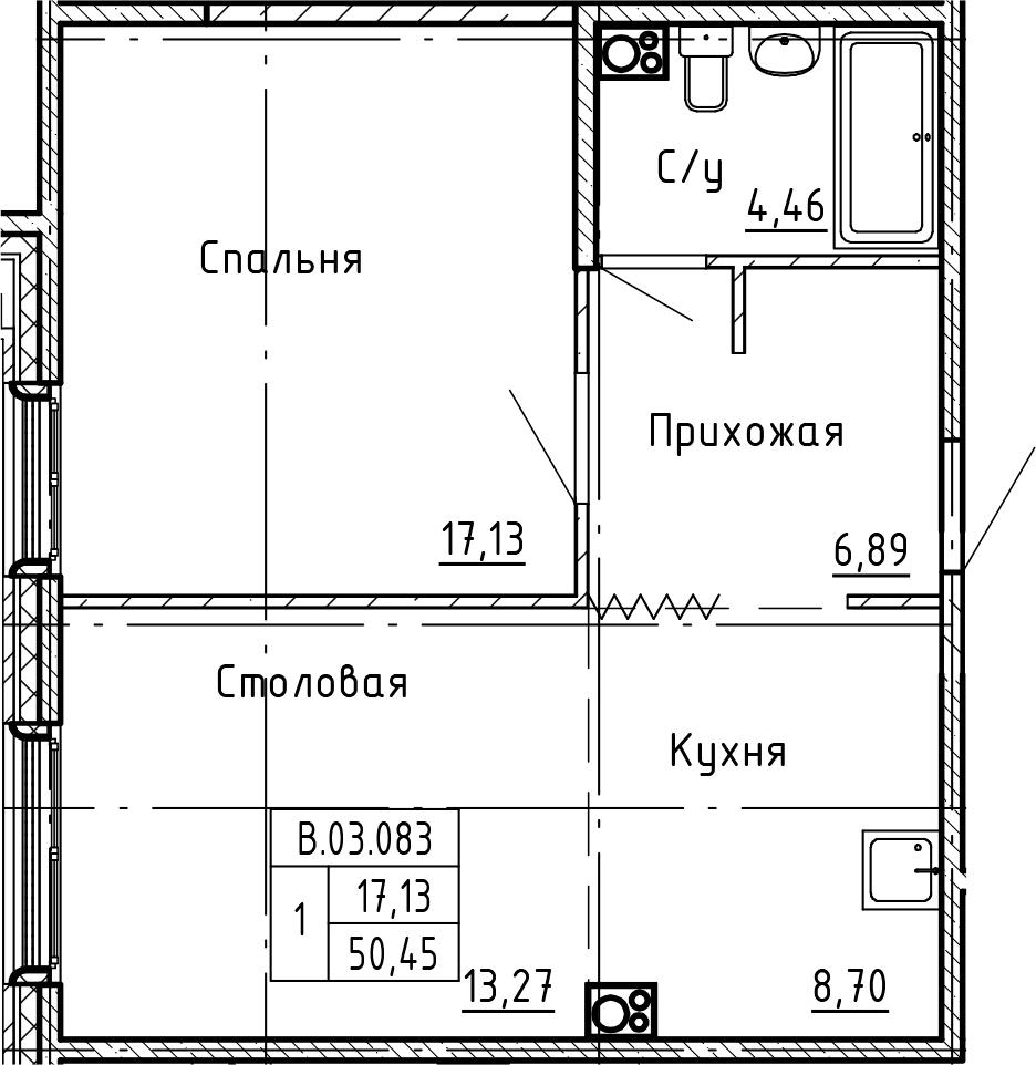 1-к.кв, 50.45 м²