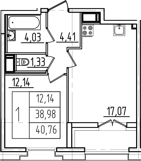 2Е-комнатная, 40.76 м²– 2