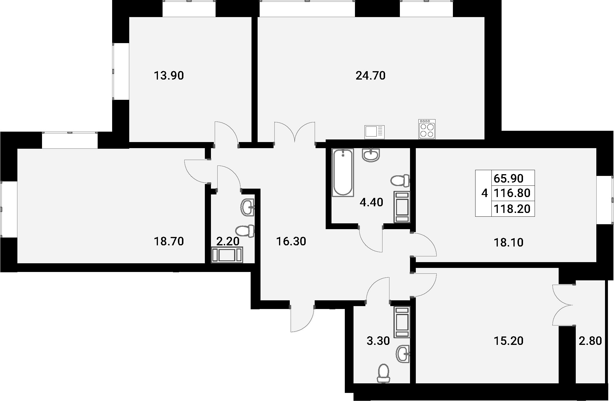 5Е-комнатная, 118.2 м²– 2