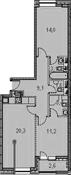 3-к.кв (евро), 71.6 м²