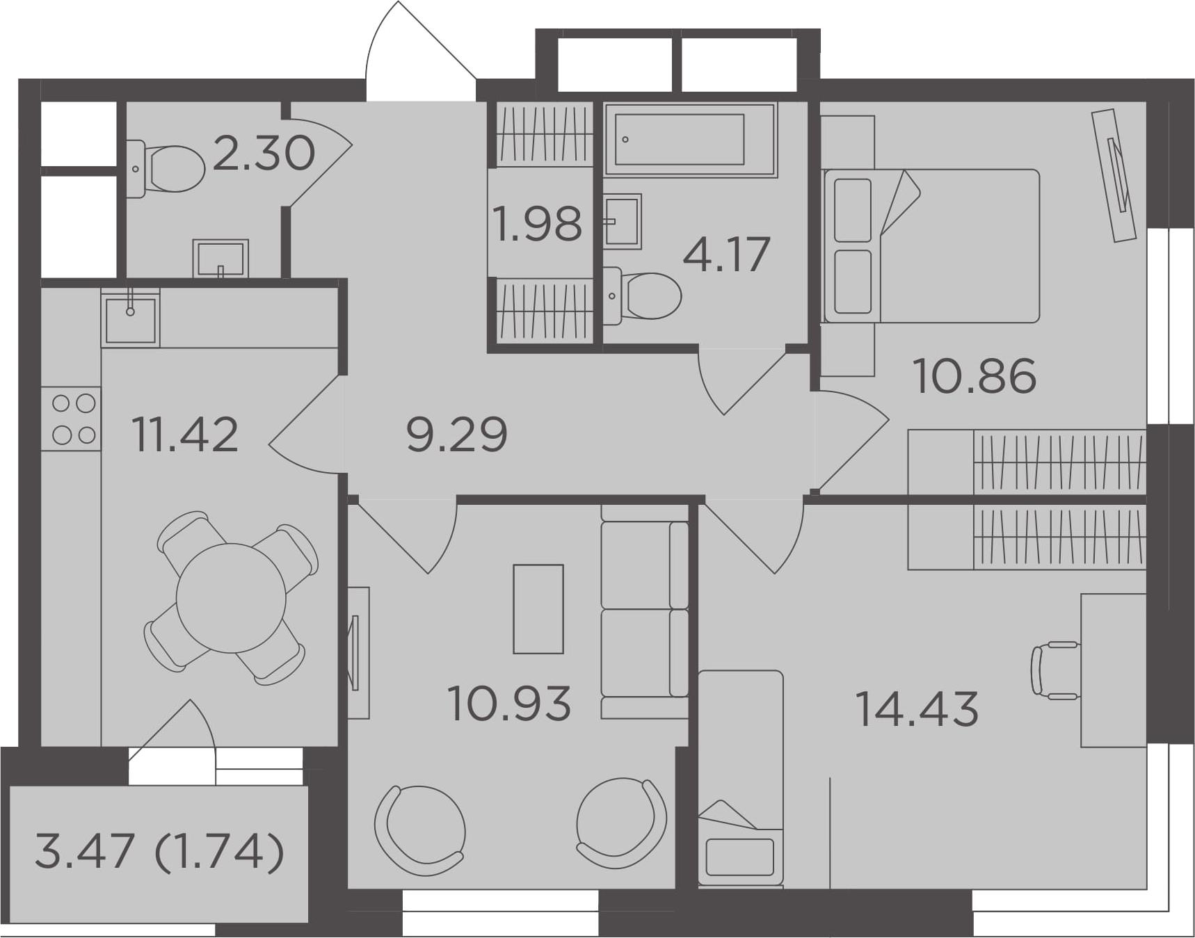 3-к.кв, 67.12 м²