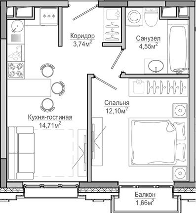2-к.кв (евро), 38.42 м²