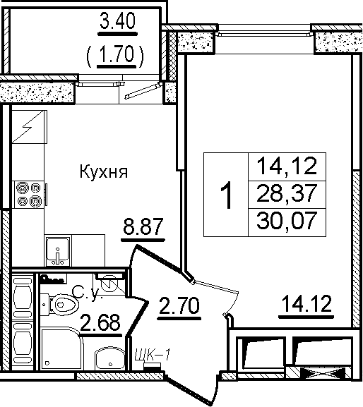 1-к.кв, 30.07 м², 9 этаж
