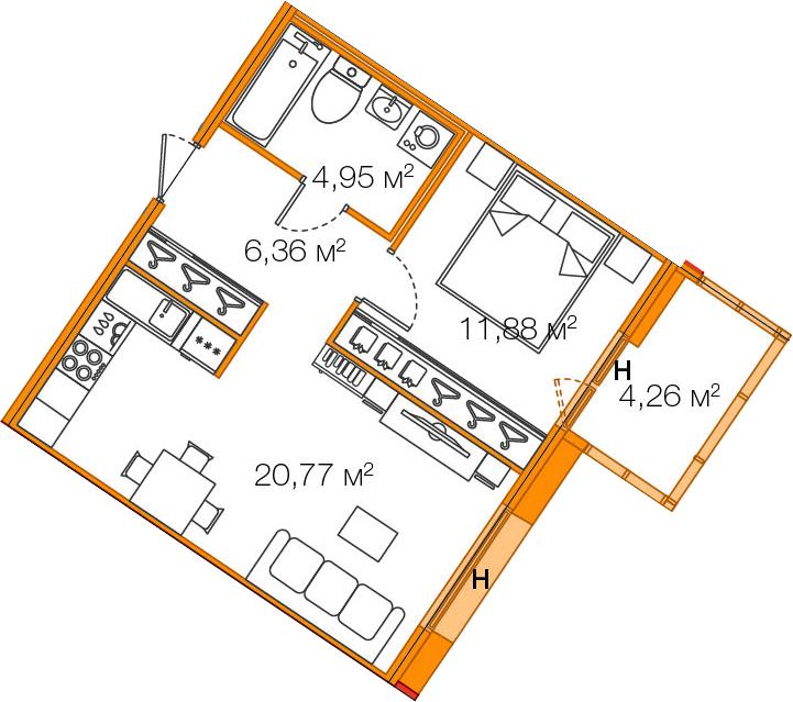 2-к.кв (евро), 48.22 м²