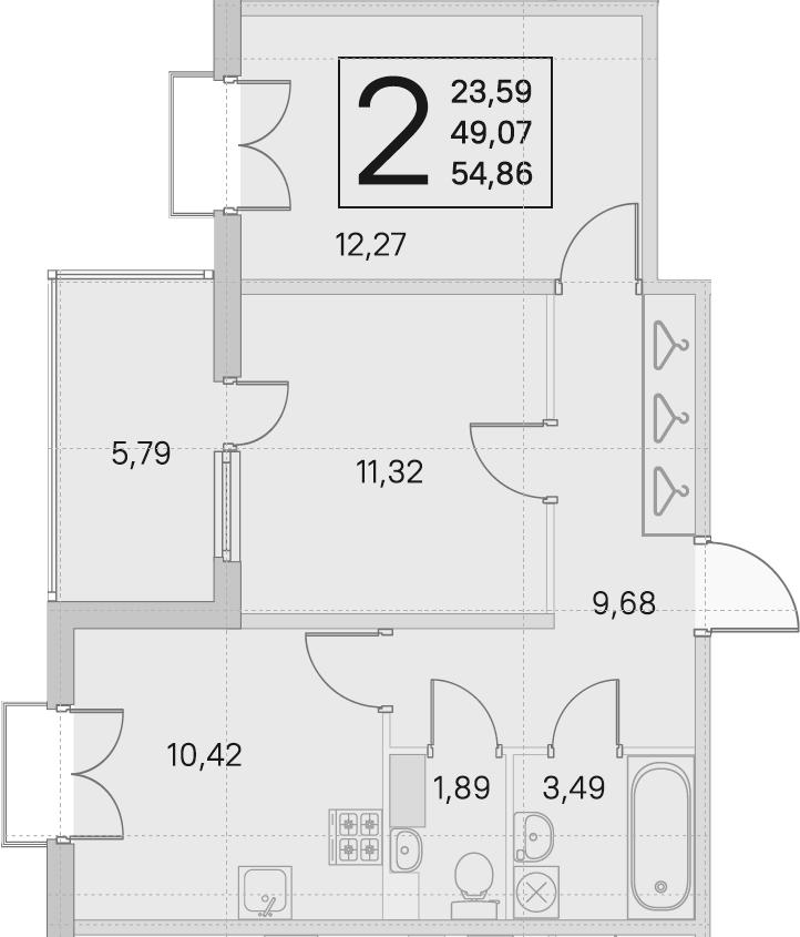 2-комнатная, 49.07 м²– 2