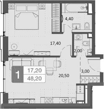 2Е-комнатная, 48.2 м²– 2