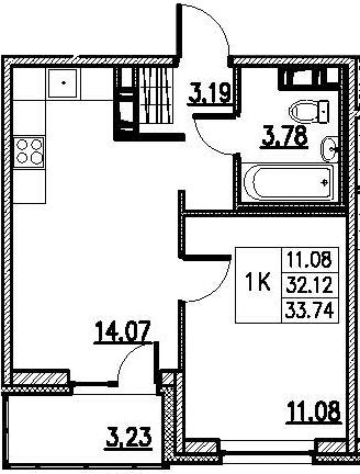2-к.кв (евро), 35.36 м²