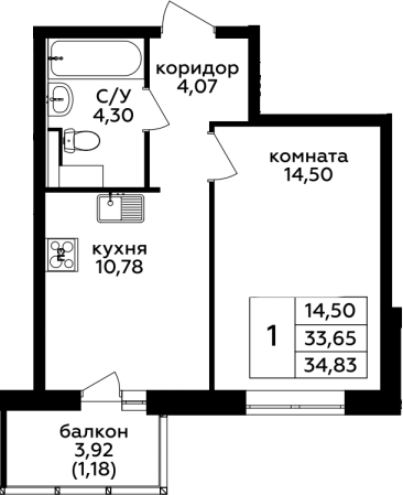 1-комнатная, 34.83 м²– 2
