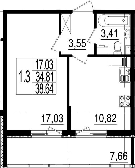 1-к.кв, 38.64 м²
