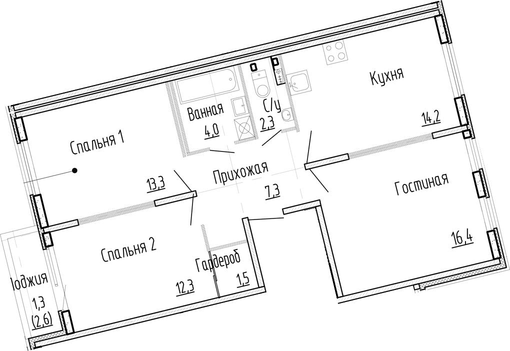3-комнатная, 71.3 м²– 2