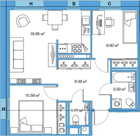 3Е-комнатная, 55.15 м²– 2