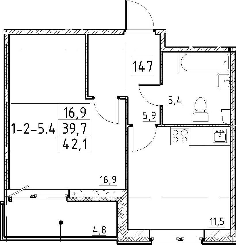 1-к.кв, 44.5 м²