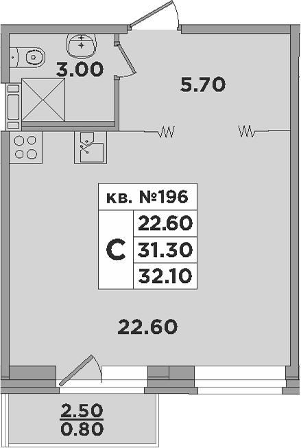 Студия, 33.8 м²