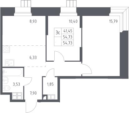3Е-к.кв, 54.73 м², 2 этаж