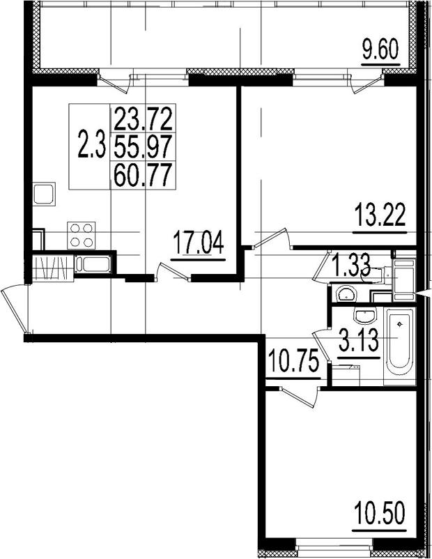 3Е-к.кв, 55.97 м²