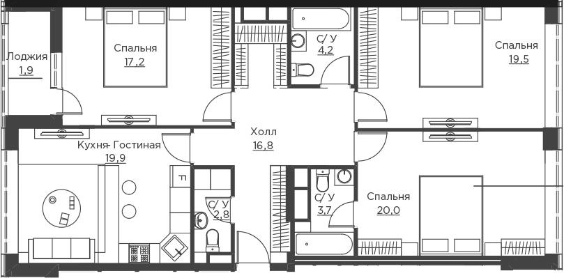 4Е-комнатная, 106 м²– 2