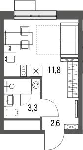 Студия, 17.7 м²
