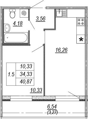 2Е-к.кв, 34.33 м², 2 этаж