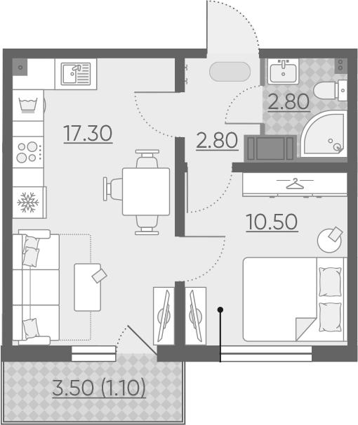 2Е-к.кв, 34.5 м²