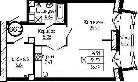 1-к.кв, 55.77 м²