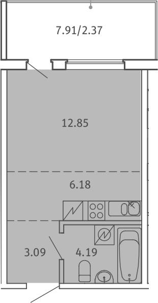 Студия, 28.68 м², 1 этаж
