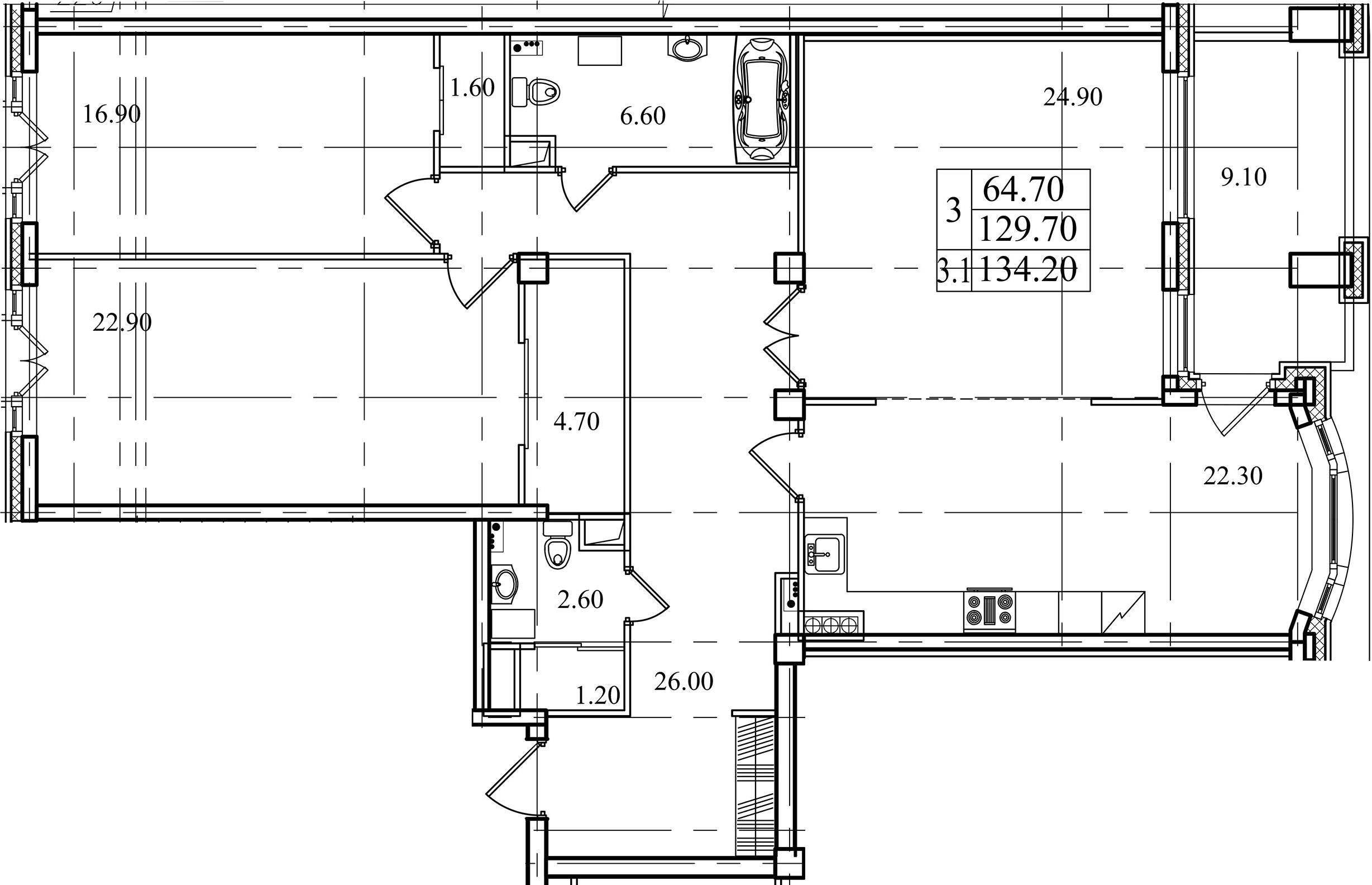 3-комнатная, 129.7 м²– 2