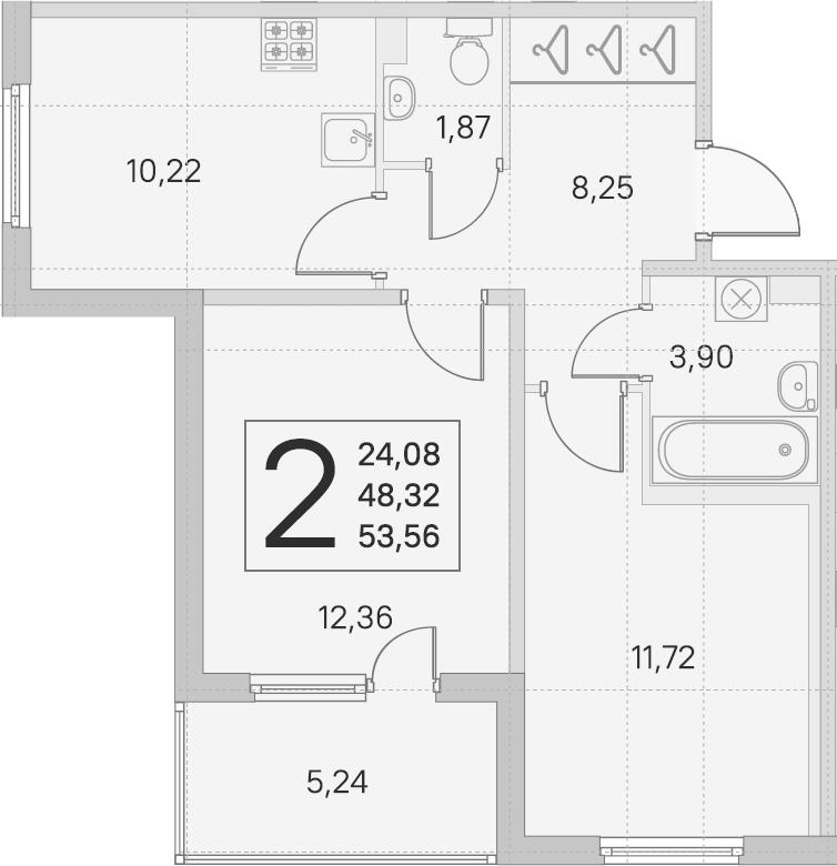 2-к.кв, 48.32 м²