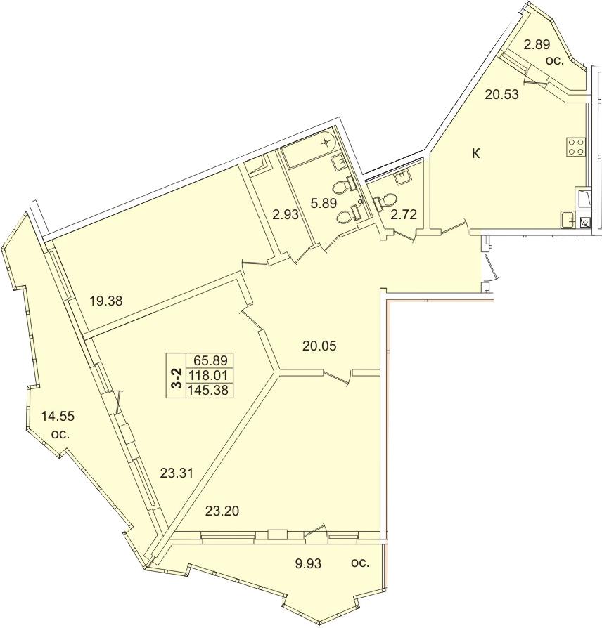 4Е-к.кв, 125.6 м², 9 этаж