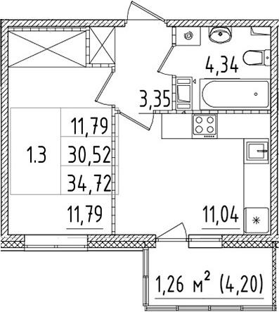 1-к.кв, 30.52 м²