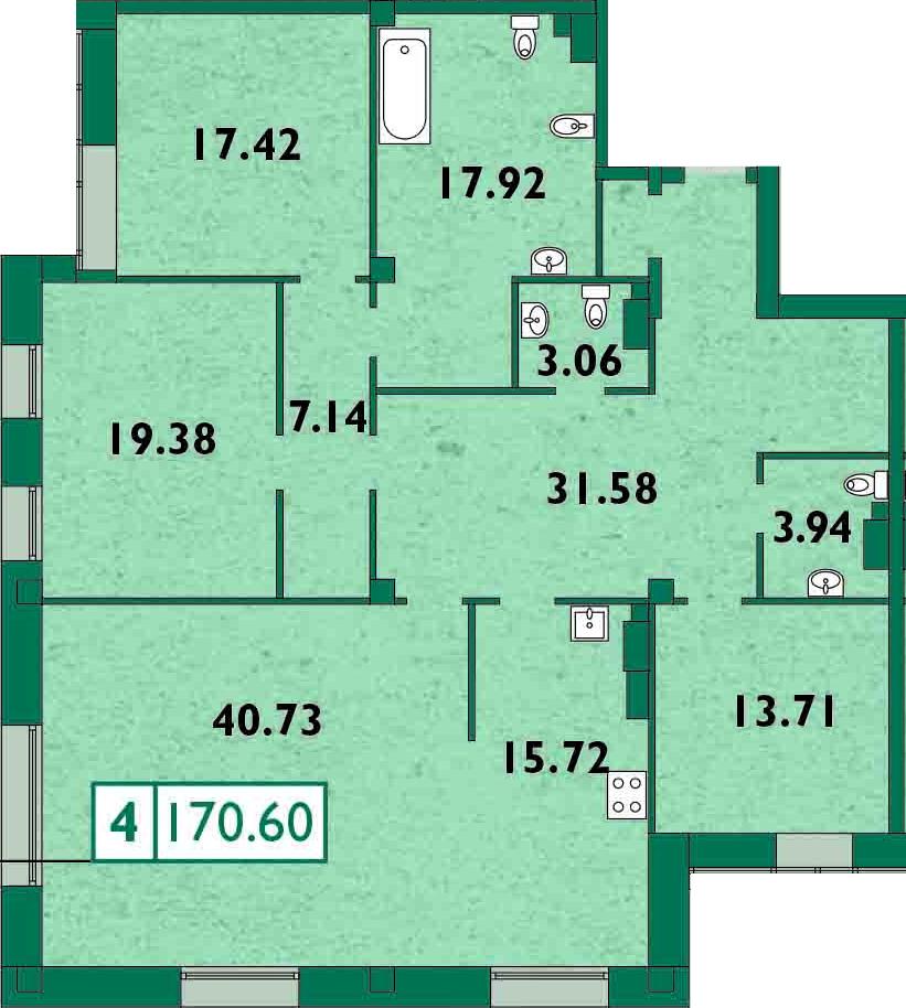 4-к.кв (евро), 172.67 м²