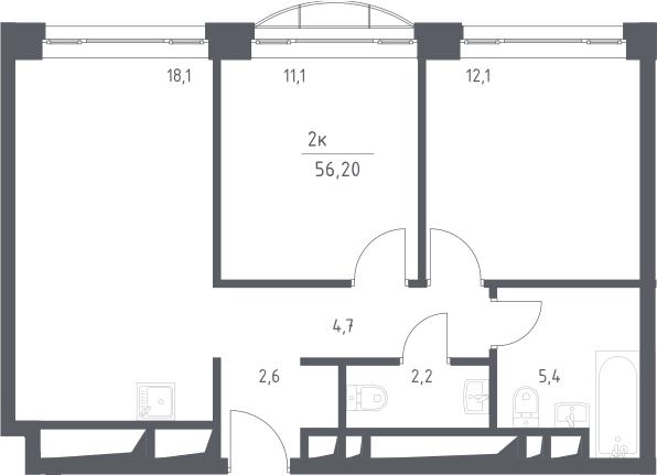 3Е-к.кв, 56.2 м², 22 этаж