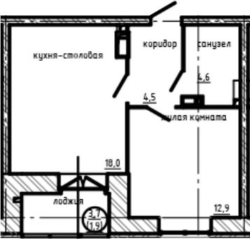 1-комнатная квартира, 41.9 м², 4 этаж – Планировка
