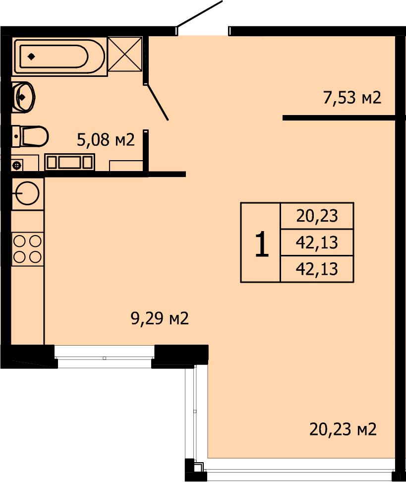Студия, 42.57 м²