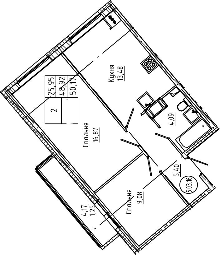 2-к.кв, 50.17 м²