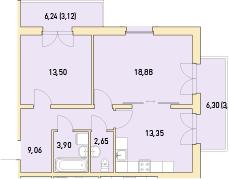 2-к.кв, 73.88 м²