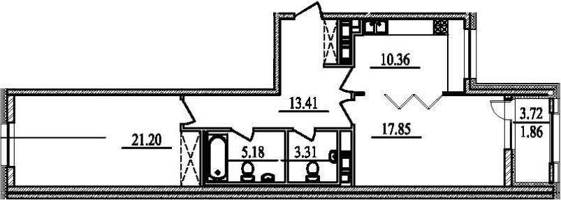 2-к.кв, 75.03 м²