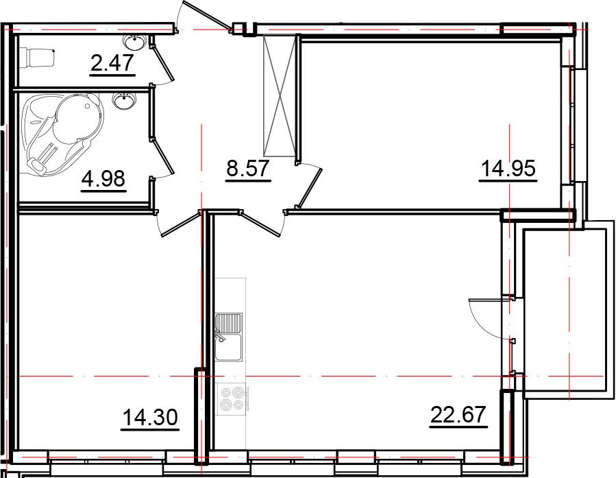 3-к.кв (евро), 72.34 м²